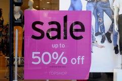 50% Verkauf am topshop Stockbild