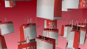 Verkauf und 75-Prozent-Aufschrift auf Einkaufstasche stock abbildung