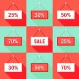 Verkauf 25 30 50 und 70% Zeichen-Ikonen eingestellt vektor abbildung