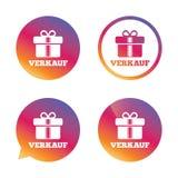 Verkauf - venta en icono alemán de la muestra Regalo Foto de archivo