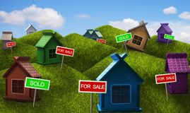 Verkauf von Immobilien: einstöckige Häuser Lizenzfreie Stockbilder