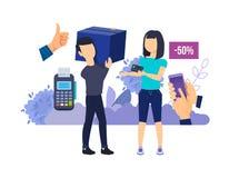 Verkauf von Interaktion und von Einkaufsprozess Auswahlwaren, Kauf, Einrichtungslieferung lizenzfreie abbildung