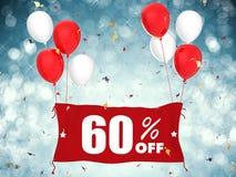 60% Verkauf weg von der Fahne auf blauem Hintergrund Stockfotografie