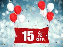 15% Verkauf weg von der Fahne auf blauem Hintergrund Lizenzfreies Stockfoto