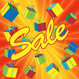 Verkaufs-Abbildung mit Geschenkboxen. Stockfoto