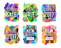 Verkaufs-bunte abstrakte Hintergrund-Fahnen eingestellt lizenzfreie abbildung