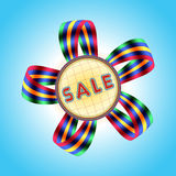 Verkaufs-Fahne mit abstrakter Blume Stockfotografie