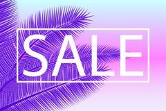 Verkaufs-Fahne mit Palmblättern Tropischer ultravioletter mit Blumenhintergrund Auch im corel abgehobenen Betrag Heiße Sommerschl lizenzfreie abbildung
