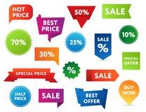 Verkaufs-Fahnen Stockfoto
