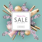 Verkaufs-Fahnenschablone 3D realistische Valentine Day Kosmetischer Paketspott des Rabattangebotfrühlingsblumenkirschblüte-Rosabl lizenzfreie abbildung