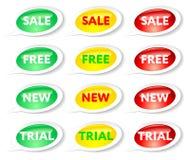 Verkaufs-, freie, neue und Probeaufkleber Lizenzfreies Stockbild