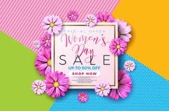 Verkaufs-Hintergrunddesign der Frauen Tagesmit schöner bunter Blume Vektorblumenmusterschablone für Kupon, Fahne Lizenzfreie Stockfotografie