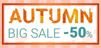 Verkaufs-Konzeptfahne des Herbstes große, Karikaturart vektor abbildung