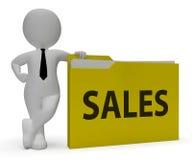 Verkaufs-Ordner-Show-Büroorganisation und Verbraucherschutzbewegung 3d übertragen stock abbildung