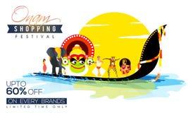 Verkaufs-Plakat, Fahne oder Flieger für Onam-Festival Lizenzfreies Stockfoto