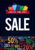 Verkaufs-Plakat mit Prozentrabattillustration Papiereinkaufstaschen und Lichter Spesial-Angebot Lizenzfreies Stockfoto