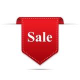 Verkaufs-Produkt-rote Aufkleber-Ikone mit Schatten auf weißem Hintergrund Stockfotografie