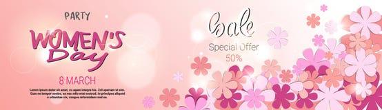 Verkaufs-Rabatt-Karten-Sonderangebot-Fahnen-Design Schablonen-der horizontalen Plakat-Frauen Tages lizenzfreie abbildung
