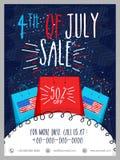 Verkaufs-Schablone, Fahne oder Flieger für Juli 4. Lizenzfreies Stockfoto