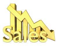 Verkaufs-Statistiken grafisch im Gold Stockfotos