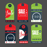 Verkaufs-Tags mit Verkaufsmitteilungen Stockfoto