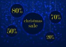 Verkaufs- und -diskontsatz Schild des Feiertags glühender Weihnachtsin einem runden Rahmen, verziert mit glühendem hellem Schnee Lizenzfreie Stockfotografie