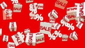 Verkaufs- und Prozentkonzept auf Rot lizenzfreie abbildung