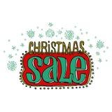 Verkaufs- und Rabattkarte, Fahne, Flieger Weihnachtsverkaufstitel Fallende Schneeflocken, Hand gezeichnete Buchstaben Vektorillus Lizenzfreie Stockfotos