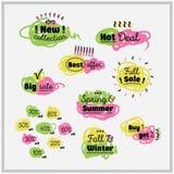 Verkaufs- und Rabattsatz Hand gezeichnete komische Aufkleber Lizenzfreie Stockbilder