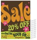 Verkaufs-Zeichen der Art-70s Stockbild
