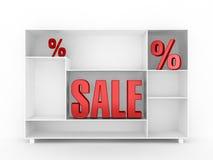 Verkaufs-Zeichen mit Schrank Stockfotografie