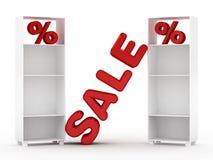 Verkaufs-Zeichen mit Schrank Stockfoto