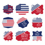 Verkaufsaufkleber-Bühnenbildelemente in amerikanischer Flagge c Stockfoto