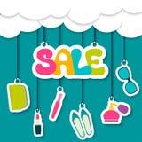 Verkaufsaufkleber in den Wolken Lizenzfreies Stockfoto