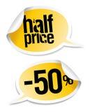 Verkaufsaufkleber des halben Preises. Lizenzfreies Stockbild