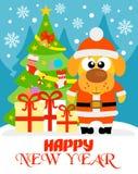 Verkaufsaufkleber 10,20,30,40 des neuen Jahres mit Santa Claus Lizenzfreie Stockfotografie