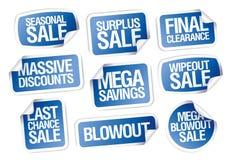 Verkaufsaufkleber stellten - enorme Rabatte, Mega- Einsparungen ein Stockfotos
