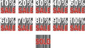 Verkaufsaufkleber und pecentual Verkauf. stockbild