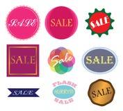 Verkaufsaufkleber-Vektorsatz Stockfotografie