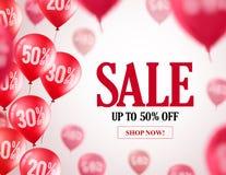 Verkaufsballonvektor-Fahnendesign Fliegende rote Ballone mit 50% weg lizenzfreie abbildung