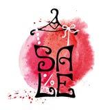 Verkaufsbeschriftung Hemd, rotes Spritzen des Aquarells Stockbild