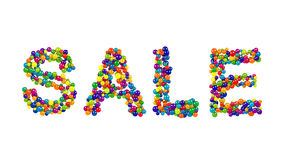 Verkaufsdesign gebildet von Regenbogen farbigen Bällen Lizenzfreies Stockfoto