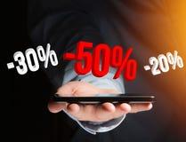 Verkaufsförderung 20% 30% und 50%, das über eine Schnittstelle - Shopp fliegt Stockfotos