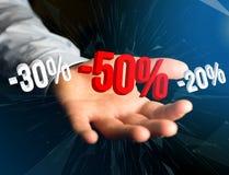Verkaufsförderung 20% 30% und 50%, das über eine Schnittstelle - Shopp fliegt Stockfoto
