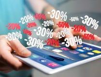 Verkaufsförderung 20% 30% und 50%, das über eine Schnittstelle - Shopp fliegt Lizenzfreie Stockfotos