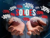 Verkaufsförderung 20% 30% und 50%, das über eine Schnittstelle - Shopp fliegt Stockbild
