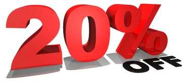 Verkaufsförderungstext 20% weg Stockfotos