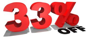 Verkaufsförderungstext 33% weg Stockfotos