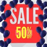 Verkaufsfahne auf niedrigem Polyhintergrund mit aufblasbaren Ballonen für Luxusverkäufe bietet an Stockfotografie