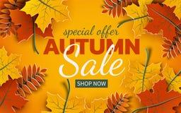 Verkaufsfahne des Herbstes 3d, bunter Papierbaum verlässt auf gelbem Hintergrund Herbstliches Design für Herbstsaisonverkaufsfahn vektor abbildung